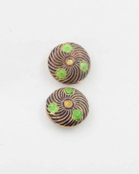 Flat round cloisonne bead 20x8mm. Sold per pack of 10