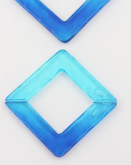 resin square bead 46x46mm aqua