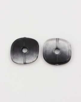 resin square donut bead black