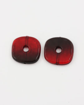 resin square donut bead red
