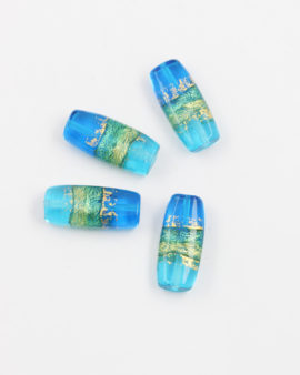 venetian glass bead aqua gold leaf