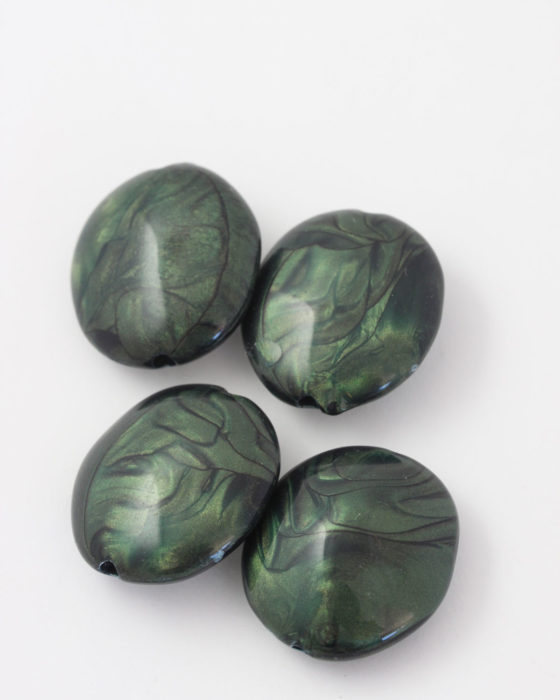 resin pod shape bead 32x28mm green