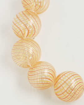 Mouth Blow Glass Hollow Round Bead 28mm yellow salmon on clear
