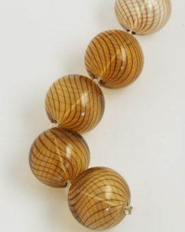 Mouth Blow Glass Hollow Round Bead 28mm rbrown on amber