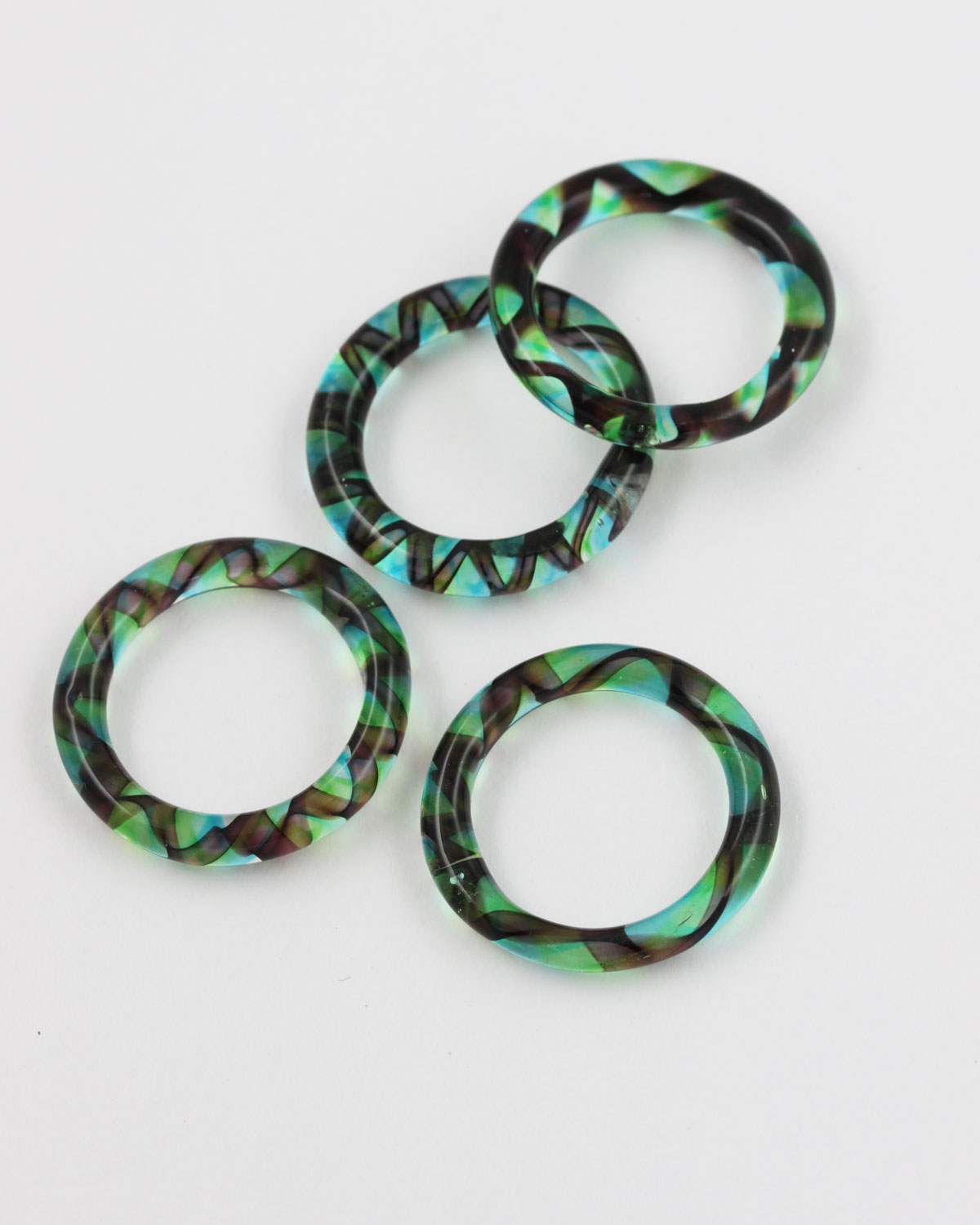 Lampworked Round Glass ring 31mm Green