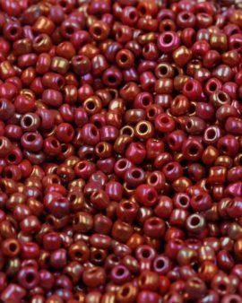 Opaque iridescent seed bead dark red