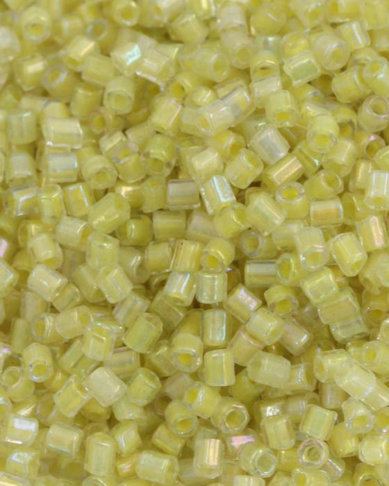 Transparent Bugle Beads approx. 2 mm Lemon iridescent