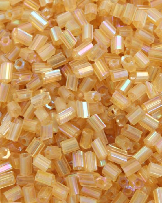 Transparent Bugle Beads approx. 2 mm Light Amber Iridescent
