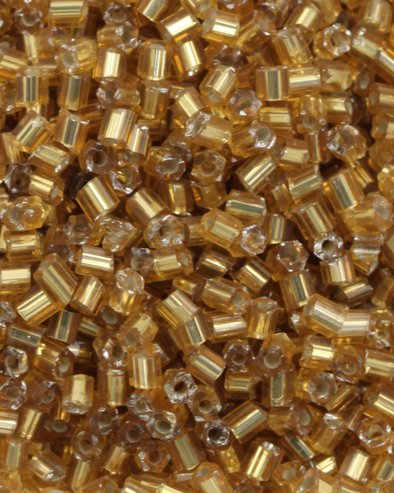 Bugle Beads 2mm Silver Lined Gold