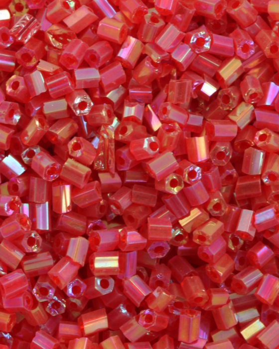 Bugle Beads 2 mm Opaque Red Iridescent