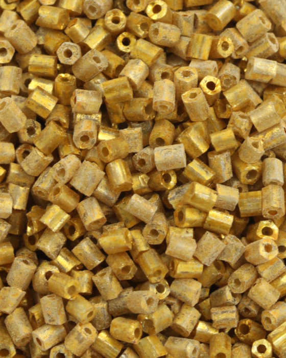 Bugle beads 2mm Yellow Gold Lined