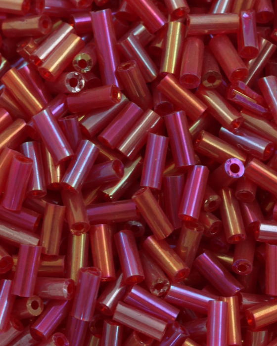 Bugle beads 4mm Red Iridescent
