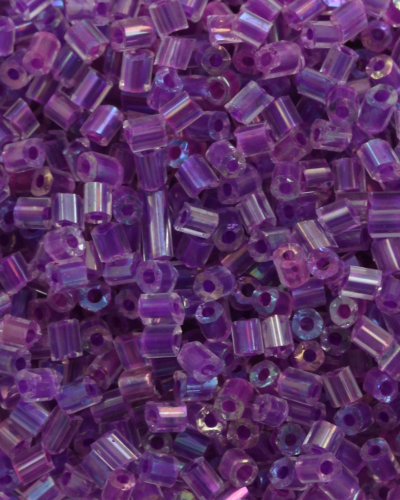 Transparent Bugle Beads approx. 2 mm Purple Iridescent