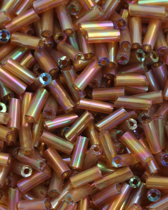 Bugle beads 4mm Bronze Iridescent