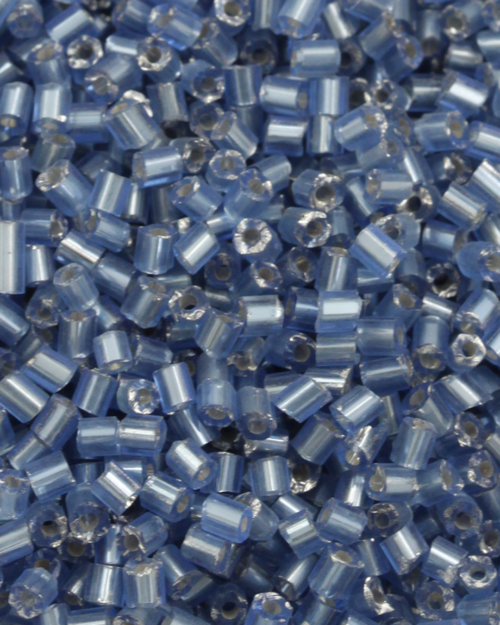 Bugle Beads 2mm Silver Lined Light Blue