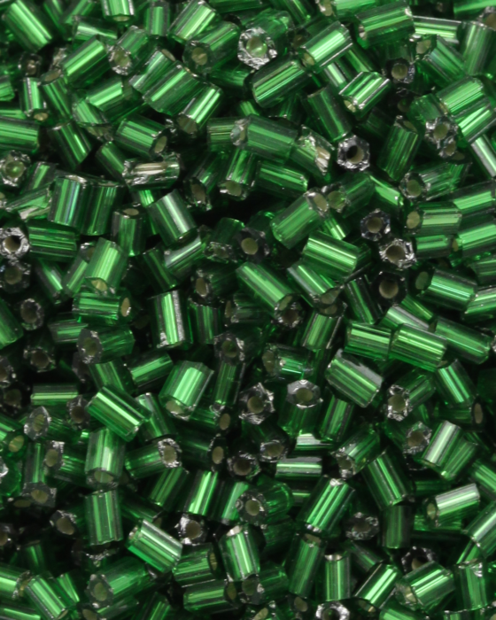 Bugle Beads 2mm Silver Lined Green
