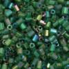 Transparent Bugle Beads approx. 2 mm Green Iridescent