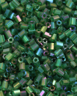 Transparent Bugle Beads approx. 2 mm Green Iridescent
