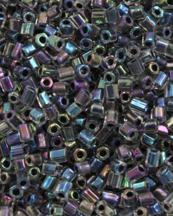 Transparent Bugle Beads approx. 2 mm Paua Iridescent