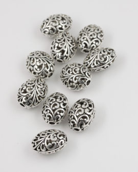metal hollow filigree bead17x21mm antique silver