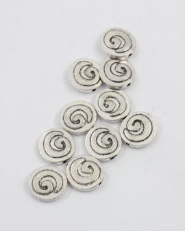 flat metal koru bead antique silver