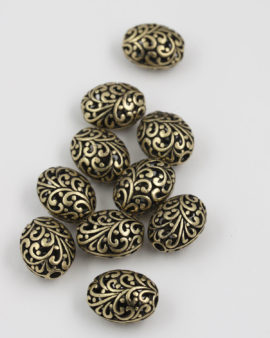 metal hollow filigree bead17x21mm antique brass