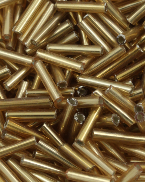 Bugle Beads 10 mm Gold Silver Lined