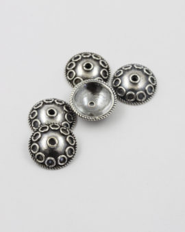 Sterling silver Bead Cap Circular Pattern 15mm