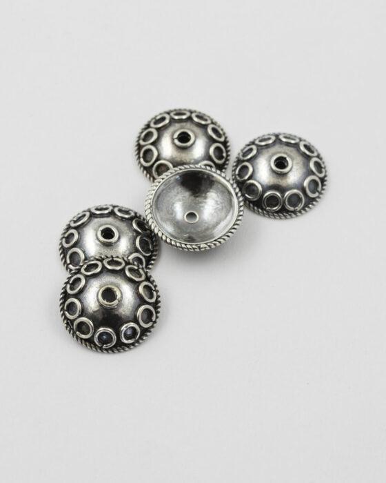 Sterling silver Bead Cap Circular Pattern 15mm
