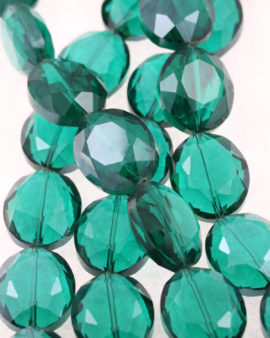 flat oval crystal beads emerald