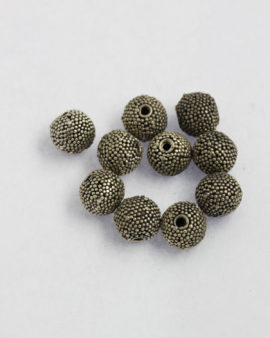 silver round granulated beads 9mm