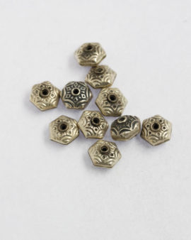 sterling flat hexagon bead