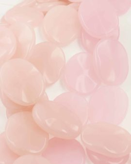 Flat oval glass rose quartz
