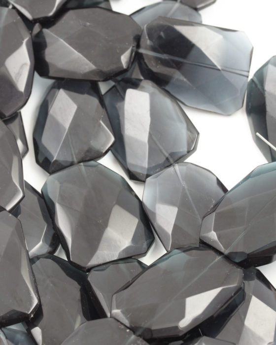 Irregular Faceted Glass Bead charcoal grey