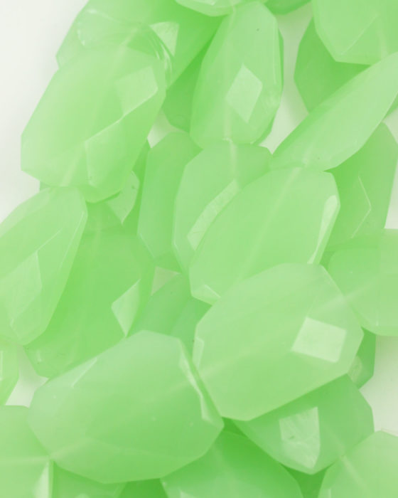 Irregular Faceted Glass Bead green opal