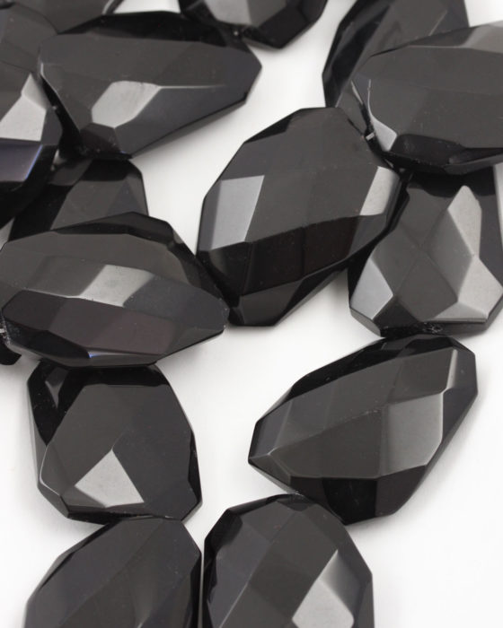 Irregular Faceted Glass Bead black opaque