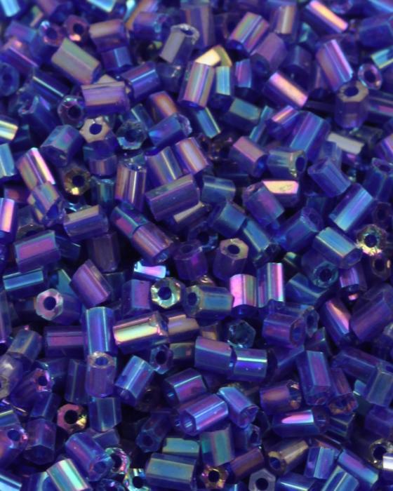Bugle Beads 2 mm Opaque Blue Iridescent