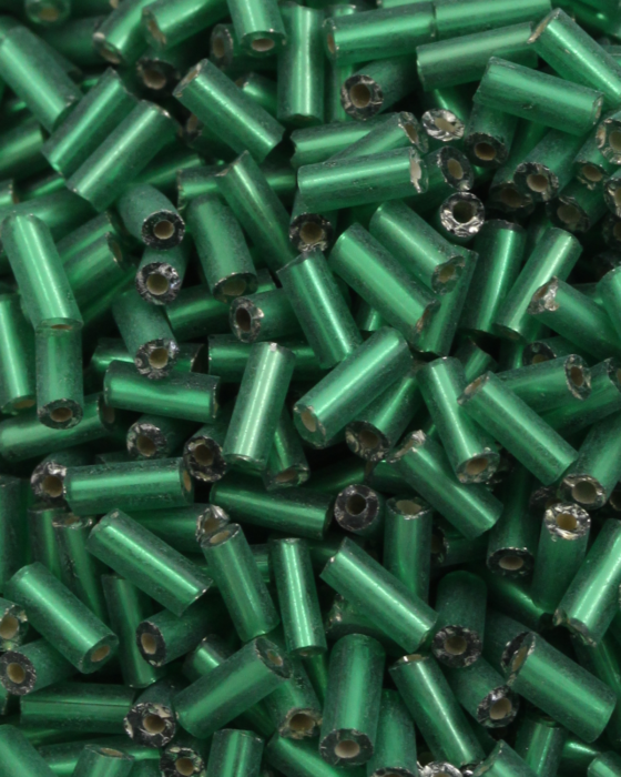 Bugle Beads 6 mm Green Silver Lined