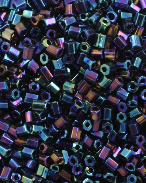 Bugle Beads 2 mm Opaque Paua Iridescent Dark Blue
