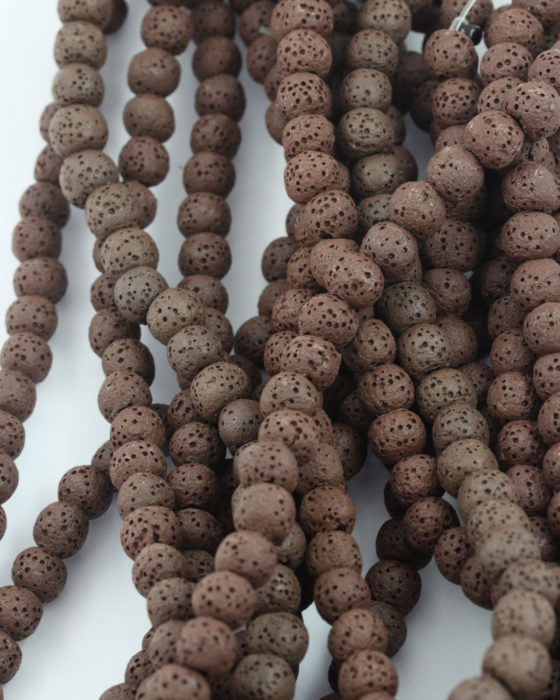 lava beads 8mm brown
