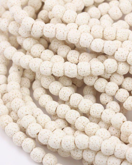 large hole lava beads 8mm white