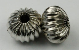 12 x 9 mm Metal spacer hollow beads - Sold per pack of 20 beads