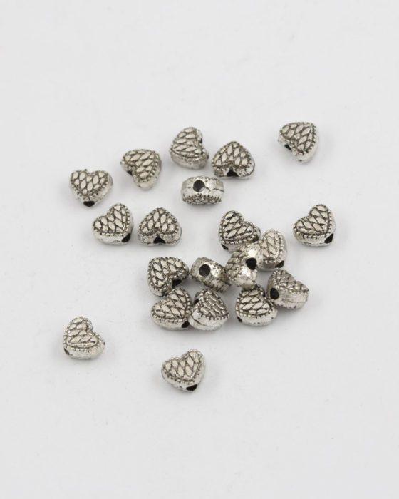metal heart bead antique silver