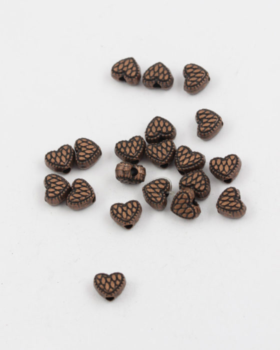 metal heart bead antique copper