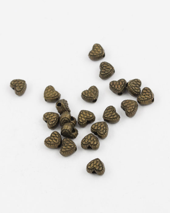 metal heart bead antique brass