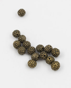 round granulated bead 10mm antique brass