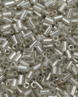 Bugle Beads 2mm Clear Silver Lined