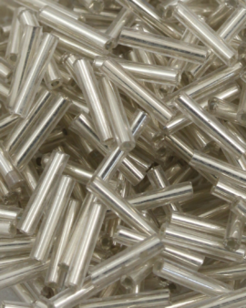 Bugle Beads 10 mm Clear Silver Lined