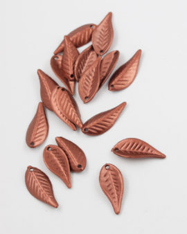 Plastic Leaf Shape 12x28mm, Metallic effect Bronze