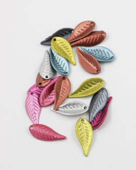 Plastic Leaf Shape 12x28mm, Metallic effect Mix Colours